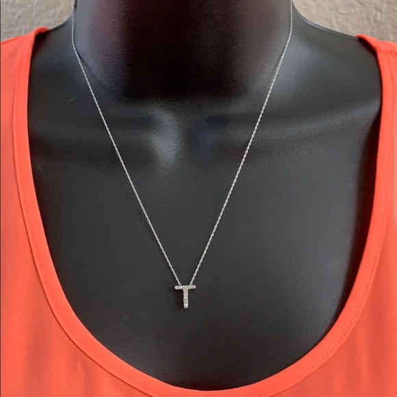 Letter T 14K White Gold And Diamond Necklace